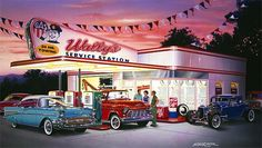 car paintings of the 50 & 60s | 50s service station, 1957 Chevrolete Convertible, !956 Chevy tow truck ...