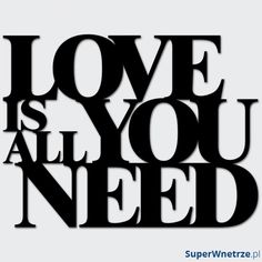 Napis na ścianę DekoSign LOVE IS ALL YOU NEED czarny
