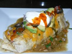 Chili Verde Burrito with Cilantro Lime Rice, Beans, Cheese, Avocado, Onion, and Olives. Sour Cream and Hot Sauce | Yelp