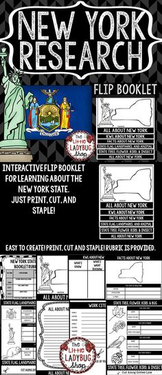 New York Research Interactive Flip Booklet is perfect for assisting your students researching this state. This flip book is perfect for your Social Studies Interactive Activities and Reading and Writing Integration! You will LOVE having this displayed after your students have completed!