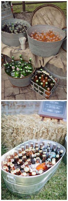 Barn wedding drink bar #weddings #rusticweddings #countryweddings #weddingideas / http://www.deerpearlflowers.com/rustic-buckets-tubs-wedding-ideas/