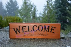 Welcome To Our Home Outdoor 5 x 18 Outdoor Wood Signs, Pacific Place, Customised Mugs, Custom Clothes, Design, Home Decor, Decoration Home, Room Decor