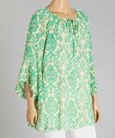 Another great find on #zulily! Green Floral Tunic - Plus by Lady Noiz #zulilyfinds