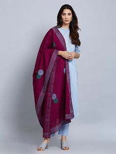 Powder Blue Cotton Kurta with Hand Block Printed Pants and Purple Dupatta- Set of 3 Kurta Designs Women, Salwar Designs, Kurti Designs Party Wear, Blouse Designs, Indian Attire, Indian Wear, Indian Outfits, Indian Dresses, African Attire