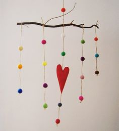 Baby Mobile/ Felted Rainbow Balls With Red Heart/ Nursery Decor/ Made To Order/ New Baby Gift Idea/ AS SEEN AT lilsugar.com