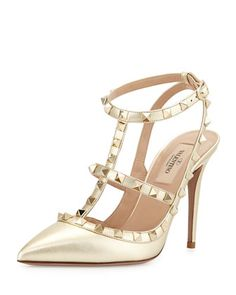 Metallic Rockstud Leather Pump, Platino by Valentino at Neiman Marcus.