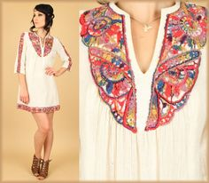 ViNtAgE 60's Rainbow Embroidered Gauzy Cotton Dress