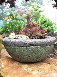 HOW TO MAKE HYPERTUFA 1 part Portland Cement 1 part peat moss - ( potting soil works) 1 part perlite  Add water until everything is mixed to consistency of very thick oatmeal. Put in a mold and wait 24hrs