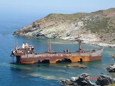 Shipwreck of the Semiramis near Vori beach, Andros island, Greece Abandoned Ships, Abandoned Buildings, Abandoned Places, Ghost Ship, Shipwreck, Ghost Towns, Water Crafts, Greek Islands, Places To Travel