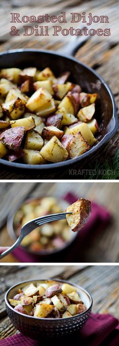 Roasted Dijon & Dill Potatoes - Make this simple roasted potato recipe for the Thanksgiving feast.  This dish packs plenty of flavor and is seasoned to perfection. #Recipe #Thanksgiving