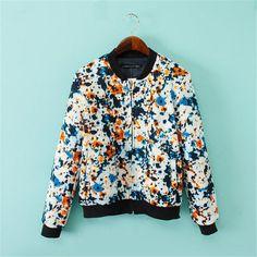 Women vintage floral print jacket long sleeve loose European style coats casaco feminine casual street wear tops CT1102