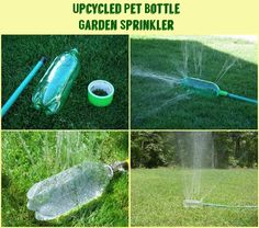 Upcycled Pet Bottle Garden Sprinkler...for dogs that like to attack and chew on sprinklers, this would be a cheap solution to having to keep buying new ones.