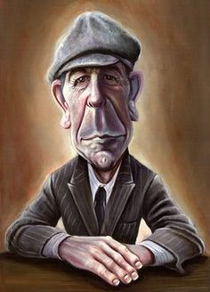 Leonard  Cohen caricature done by El Blog De Father Gorgonzola