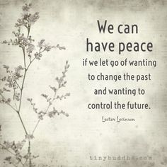 We can have peace if we let go of wanting to change the past and wanting to control the future. Witty Quotes, Great Quotes, Quotes To Live By, Inspirational Quotes, Change Quotes, Quotes Quotes, Motivational, Super Soul Sunday, Inner Peace Quotes