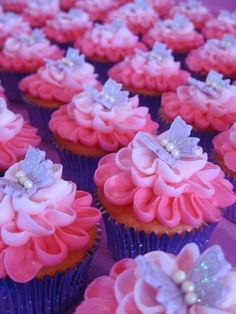 Butterfly Kissed Cuppies Cream Cheese icing on Strawberry cupcakes. Butterfly Baby Shower, Butterfly Birthday, Butterfly Kisses, Butterfly Party, Butterflies, Baking Cupcakes, Cupcake Cakes, Birthday Cake Girls, Birthday Ideas