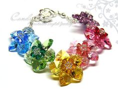 Swarovski necklace Sweet Rainbow Flowers Swarovski por candybead