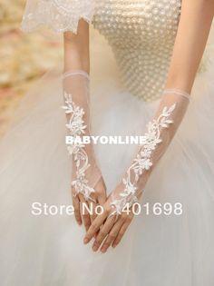 transporte de beleza gratuitos luvas de noiva com luvas acessório do casamento dedos de seda branca para a noiva