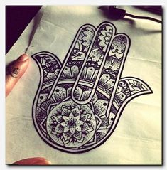 Hamsa Tattoo - The hamsa is an ancient Middle Eastern amulet symbolizing the Hand of Fatima. In all faiths it is a protective sign. It brings it's owner happiness, luck, health, and good fortune. Future Tattoos, Love Tattoos, Beautiful Tattoos, New Tattoos, Tatoos, Script Tattoos, Arabic Tattoos, Piercing Tattoo, I Tattoo