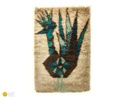 Gorgeous vintage wall or floor rug - abstract bird -