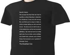 Breakfast Club T-Shirt Letter From Movie Classic by ScottysTees