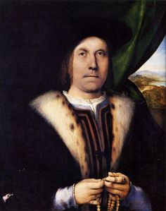 AD 1517 Portrait of a Gentleman with a Rosary by Lorenzo Lotto, oil on panel (79 x 62 cm) - Nivaagaards Malerisamling, Niva, Denmark