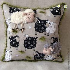 Купить декоративная подушка Овечки на Лугу - подарок на Пасху, декоративная подушка, натуральные материалы
