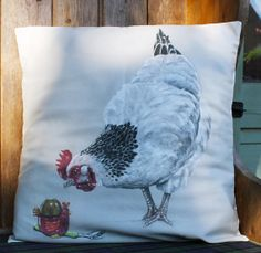 chicken  cushion cover by NicVickeryAnimalArt on Etsy, £25.00