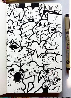 Check out the amazing imagination of this 16 year old doodle artist. Cute Doodle Art, Cool Doodles, Doodle Art Designs, Doodle Art Drawing, Kawaii Doodles, Graffiti Doodles, Graffiti Drawing, Graffiti Lettering, Graffiti Art