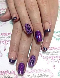 Fluid acrylic nails with @kleancolor lavenbaby and love affair also some glitter from glittergasm.com.au