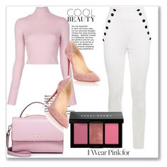 """""""pink"""" by sunshine-189 ❤ liked on Polyvore featuring A.L.C., WithChic, Bobbi Brown Cosmetics, Christian Louboutin and IWearPinkFor"""