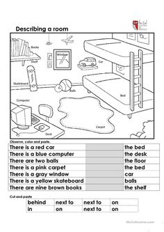 Describing a room - English ESL Worksheets for distance learning and physical classrooms English Prepositions, English Grammar Worksheets, 1st Grade Worksheets, Grammar Lessons, Worksheets For Kids, English Vocabulary, Printable Worksheets, English Primary School, Kids English