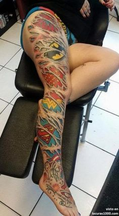 40 Mightiest Marvel Comic Tattoo Designs For Men And Women - Dzine Mag - 40 Mightiest Marvel Comic Tattoo Designs For Men And Women La meilleure image selon vos envies sur d - Full Leg Tattoos, Sexy Tattoos, Body Art Tattoos, Tattoos For Women, Tatoos, Game Tattoos, Disney Tattoos For Men, Gay Pride Tattoos, Funny Tattoos