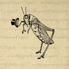 Grasshopper with Top Hat Digital Image Download Collage Sheet Antique Insect No.3733 BOGO SALE. $3.50, via Etsy.