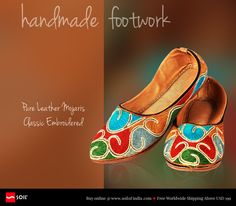 #soilofindia Pure #Leather #Mojaris Classic, Embroidered Mojaries or #slip-ons in pure leather . Hand stitched and hand embroidered without the use of machines, power or fuel.  All eco friendly and carbon neutral, aligned to nature.