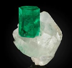 Perfect Emerald crystal on calcite crystal Photo: John Hoffmann Amazing Geologist Natural Crystals, Stones And Crystals, Gem Stones, Minerals And Gemstones, Rocks And Minerals, Calcite Crystal, Gem Show, Mineral Stone, Rocks And Gems