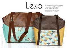 Tasche Lexa nähen Hansedelli Nähanleitung Schnittmuster Ebook Weekender Shopper Businessbag