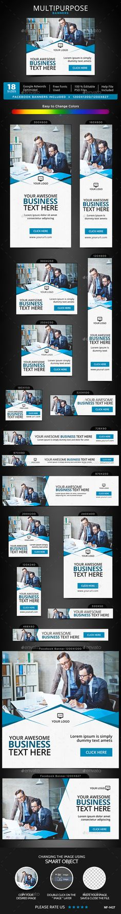 Multipurpose Banners Design Template - Banners & Ads Web Template PSD. Download here: https://graphicriver.net/item/multipurpose-banners/17076246?s_rank=271&ref=yinkira