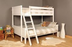 3ft 4ft Triple Bunk Bed Pine White & Mattress Option FREE NEXT DAY UK DELIVERY