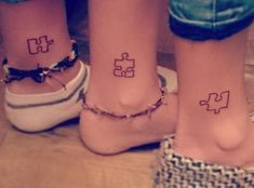 For all siblings: matching tattoo ideas that are more than awesome! - The perfect matching tattoo for siblings - Siblings Tattoo For 3, Sibling Tattoos, Tattoos For 3 Sisters, Tattoo Sister, Puzzle Tattoos, Trendy Tattoos, Small Tattoos, Cool Tattoos, Flower Tattoos