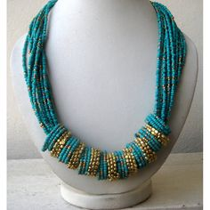 Turquoise Statement Necklace/Bib Necklace/Beaded Necklace/Chunky Necklace/Beaded Jewelry via Etsy