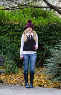 Wellies, Jeans and Fair Isle! http://raindropsofsapphire.com/2013/12/27/burgundy-fair-isle-navy-gloss-hunter-wellies/