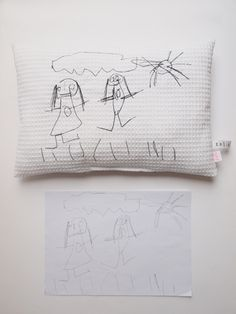 Création textile Zut! pièce unique Dessin de Talie 4 ans. http://www.atelier-zutfrance.com/