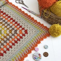 Crochet Blanket - sewhappycreativ,crochet-To brighten up a wet and windy weekend there's off our Carousel blanket pattern, to think last weekend I Crochet Blanket Border, Granny Square Blanket, Granny Square Crochet Pattern, Crochet Blanket Patterns, Baby Patterns, Crochet Blankets, Crochet Borders, Granny Squares, Baby Blankets