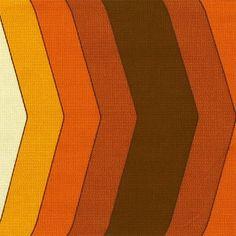 Jute table runner orange chevron design 1970s