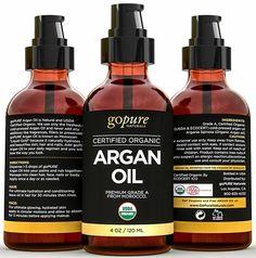 Virgin Organic Argan Oil for Hair & Skin - Cold-Pressed 100% Pure Moroccan Oil - USDA Certified Organic - Pure Argan Oil for Skin, Hair, & Nails