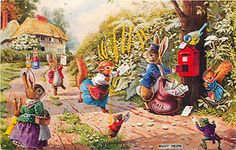 Racey-Helps-Medici-Society-London-Catching-The-Post-Postcard