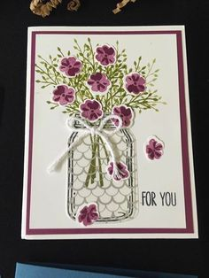 handmade greeting card ... mason jar filled with flowers ... Stampin' Up!