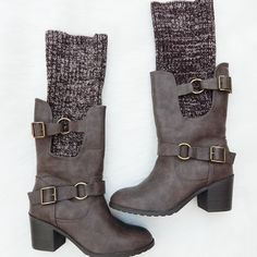 "• Knit Cuff Boots • • So obsessed! Cozy knit sweater boots will keep you warm this winter! Knit cuff rolls down or up, for alternate looks. Taupe color with buckle on side. Lining and cozy sole inside  Heel Height: 2.5""  PLEASE DO NOT PURCHASE THIS LISTING. Comment your size below and I'll make a new listing for you. Thank you! Shoes Heeled Boots"