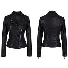Black Faux Leather Moto Zip Detail Pu Jacket @ LightInTheBox $26