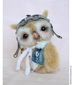 Себастьян-авиатор (O,O) коллекционная авторская игрушка тедди сова - бежевый